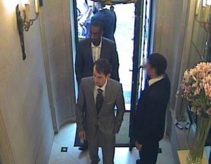 2009 Graff Diamonds robbery - CCTV image released by the Metropolitan Police depicting two of the robbers entering Graff Diamonds. They were later identified as Craig Calderwood (front) and Aman Kassaye.