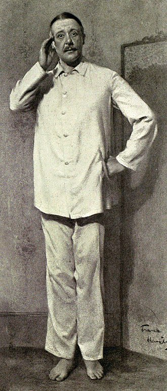 """Charles Hawtrey (actor, born 1858) - Hawtrey in what the Illustrated London News called """"essentially a Charles Hawtrey part"""", in Inconstant George (1910)"""