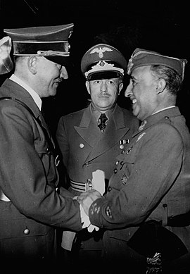 Hitler and Spanish dictator Francisco Franco in Meeting at Hendaye, on 23 October 1940 Hitler and Franco at Hendaye (en.wiki).jpg