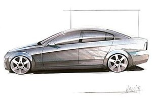 Holden Commodore (VE) - Early 1999 design sketch by Peter Hughes formed the basis for VE Commodore sedan profile.