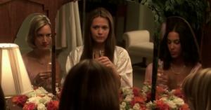 Samantha talks with her bridesmaids