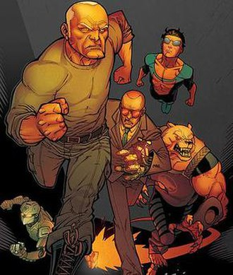 Invincible (comics) - Several of Kirkman's superheroes.  Cover art by Ryan Ottley.