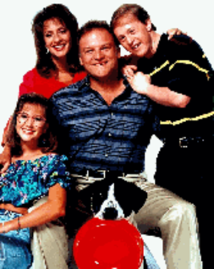 Life Goes On (TV series) - The cast of Life Goes On.  Clockwise from left: Kellie Martin, Patti LuPone, Bill Smitrovich, Chris Burke, and Arnold the Semi-Wonder Dog.