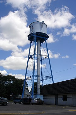 Lindström's old water tower, a community landmark