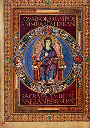 Gospel Book - Folio 72 verso of the Codex Aureus of Lorsch. Christ in Majesty