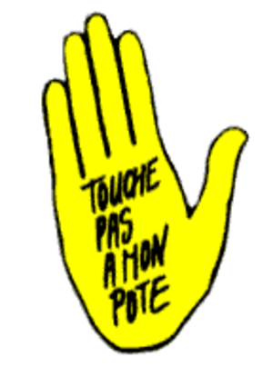 """SOS Racisme - Logo of the association. The slogan means """"don't touch my friend"""""""