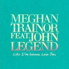 "The names Meghan Trainor and John Legend stand in golden font above the title ""Like I'm Gonna Lose You"" written in the same font, surrounded by green background."