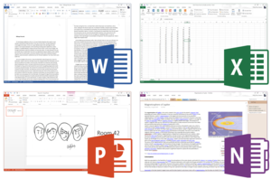 Microsoft Office 2013 applications from top left to bottom right: Word, Excel, PowerPoint and OneNote which collectively make up the Home and Student edition.