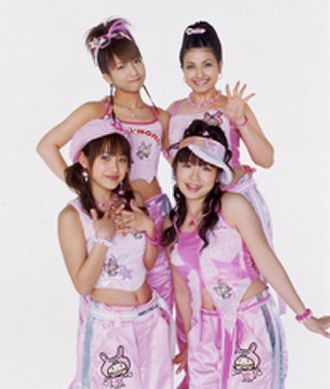 Minimoni - Minimoni, 2003. (Pictured starting from top left to right) Nozomi Tsuji, Mika Todd, Ai Takahashi and Ai Kago