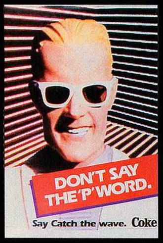 "New Coke - Max Headroom print ad from ""Catch the Wave"""