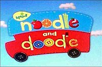 A bus shaped logo with the words Noodle and Doodle, with fruits and buttons for O's.