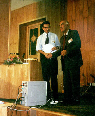 Pejman Akbarzadeh - Pejman Akbarzadeh (L) and Prof. Ahmad Eghtedari (R). Persian Studies Foundation Conference, Hafez Hall, Shiraz, 2005.