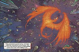 Phoenix Force (comics) - The Phoenix being attacked by its creations.