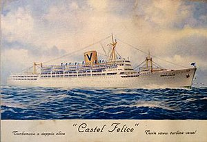 Castel Felice - Postcard purchased in 1955 depicting the liner 'Castel Felice'