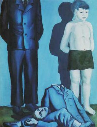 Polish culture during World War II - Rozstrzelanie V (Execution by Firing Squad, V) (1949) by Andrzej Wróblewski, set in German-occupied Poland