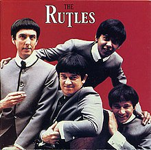 The cover to the American CD reissue of The Rutles. From left to right: Eric Idle, John Halsey (musician), Ricky Fataar, and Neil Innes.
