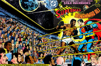 Superman vs. Muhammad Ali - The full wraparound cover of Superman vs. Muhammad Ali.