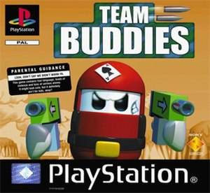 "Team Buddies - European cover art including a Parental Guidance warning. The North American version is rated ""E"" due to censorship of profanity."
