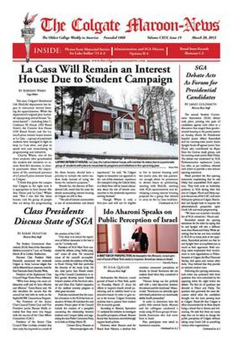 Colgate Maroon-News - Image: The front page of the Colgate Maroon News