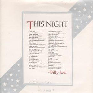 This Night (Billy Joel song) - Image: This Night (Billy Joel single) coverart