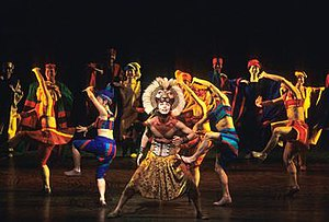 "He Lives in You - Simba and the ensemble performing ""He Lives in You"" from the second act of ''The Lion King'' musical. Photograph is of the original Korean cast."