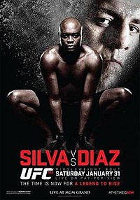 A poster or logo for UFC 183: Silva vs. Diaz.