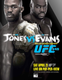 A poster or logo for UFC 145: Jones vs. Evans.