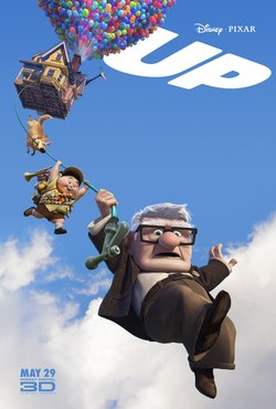 "A house is floating in the air, lifted by balloons. A dog, a boy, and an old man hang beneath on a garden hose. ""UP"" is written in the top right corner."