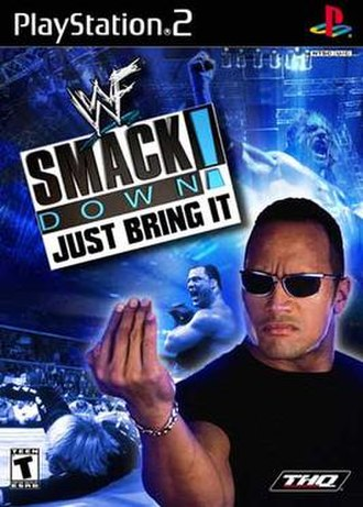 WWF SmackDown! Just Bring It - NTSC cover art featuring (clockwise from top right) Triple H, The Rock, Spike Dudley and Kurt Angle
