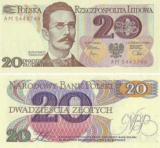 20 złotych note - The twenty złotych note from the third banknote series.