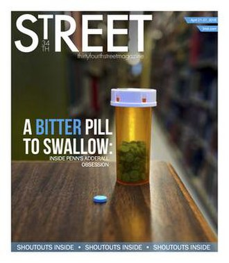 The Daily Pennsylvanian - Cover of 34st Magazine (Week of March 21, 2016) investigating the use of Adderall as a study drug.