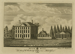 Andrew Hamilton (lawyer) - Bush Hill. The Seat of Wm. Hamilton Esqr. near Philadelphia, by James Peller Malcolm. Bush Hill was first the country seat of his ancestor Andrew Hamilton.