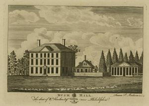 1793 Philadelphia yellow fever epidemic - Bush Hill. The Seat of Wm. Hamilton Esqr. near Philadelphia, by James Peller Malcom. Bush Hill was the country seat of James Hamilton by this time.