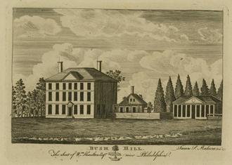 Andrew Hamilton (lawyer) - Bush Hill. The Seat of Wm. Hamilton Esqr. near Philadelphia, by James Peller Malcolm. Bush Hill was first the country seat of his ancestor Andrew Hamilton.
