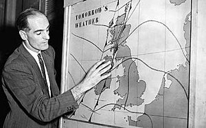 BBC Weather - George Cowling presented the first in-vision forecast on 11 January 1954.