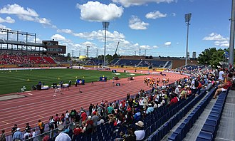York Lions Stadium - Image: CIBC Pan Am and Parapan Am Athletics Stadium east stands