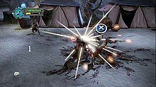 "Graphical representations of two men engage in combat. The clash of their swords against each other produces a large spark, and a blue circle, which is marked with a white ""X"". Another man, armed with a bow, is shown standing in the background. Coloured gauges are at the top left."