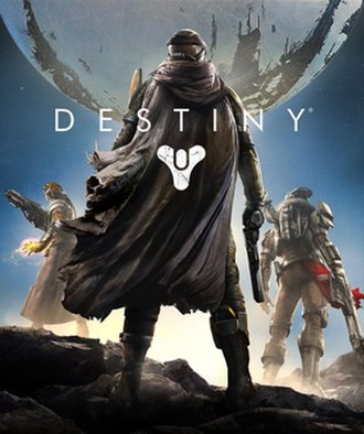 Destiny (video game) - Box art featuring the game's three character classes: Warlock (left), Hunter (center), and Titan (right)