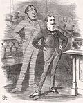 Randolph Churchill stands with a look of pride; behind him a tall, ghostly Disraeli stands, also looking proud
