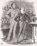 Randolph Churchill se dresse avec un air de fierté ;  derrière lui se dresse un grand Disraeli fantomatique, l'air également fier