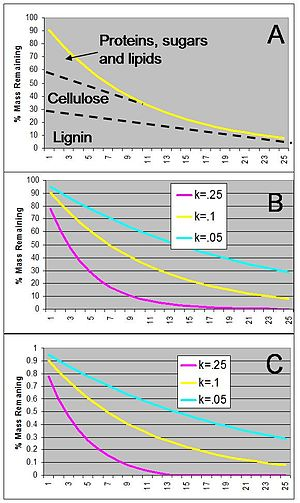 Ecosystem ecology - Figure 5. Dynamics of decomposing plant litter (A) described with an exponential model (B) and a combined exponential-linear model (C).