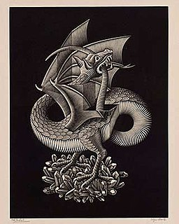<i>Dragon</i> (M. C. Escher) wood engraving print by M. C. Escher