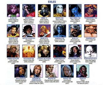 Exiles (Marvel Comics) - All time members, from X-Men Messiah Complex: Mutant Files