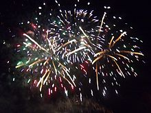 A photograph showing a Guy Fawkes Fireworks display in the United Kingdom.
