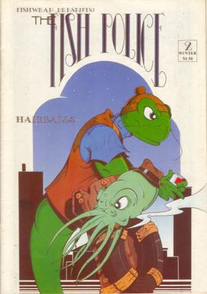 Fish Police - Cover of Fish Police Fishwrap issue 2, illustrated by Steve Moncuse