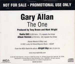 The One (Gary Allan song) - Image: Gary Allan The One single cover