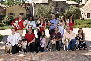 Greatest American Dog -  The contestants of Greatest American Dog: (top, left to right) David Best and Elvis, Laurie Williams and Andrew, Brandy Yant and Beacon, Michael Piper-Younie and Ezzie, Beth Joy Knutsen and Bella Starlet, Laura Nativo and Preston; (bottom) Ron Davis and Tillman, J.D. Platt and Galaxy, Elan Hagens and Kenji, Travis Brorsen and Presley, Bill McFarlin and Star, and Teresa Hanula and Leroy.