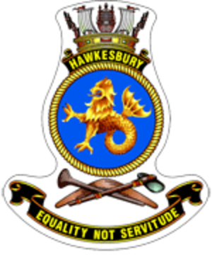 HMAS Hawkesbury (M 83) - Ship's badge