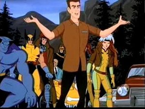 Cannonball (comics) - Cannonball standing in front of several members of the X-Men, from the X-Men cartoon.