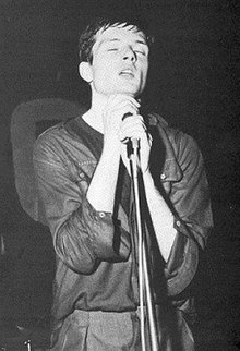 Curtis performing live with Joy Division at the Mayflower in Manchester on 28 July 1979